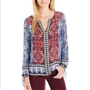 Lucky Brand long sleeve peasant top all-over print